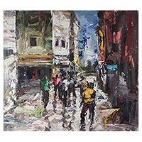 'Street Walk' - Signed Impressionist Cityscape Painting from Ghana