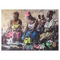 'Second-Hand Clothes' - Signed Painting of a Clothing Market from Ghana