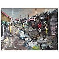 'Slum' - Signed Impressionist Painting of a Slum from Ghana