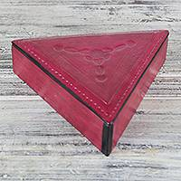 Leather jewelry box, 'Delightful Triangle' - Triangular Leather Jewelry Box in Fuchsia from Ghana