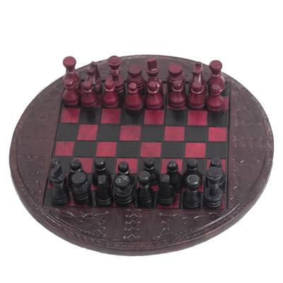 Leather Chess Set in Burgundy and Black from Ghana
