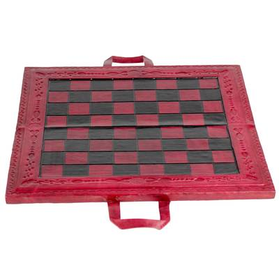 Leather Travel Chess Set in Red and Brown from Ghana