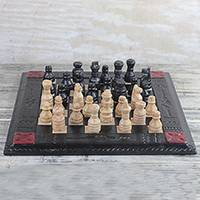 Leather chess set, 'Sophisticated Battle' - Handmade Leather Chess Set from Ghana