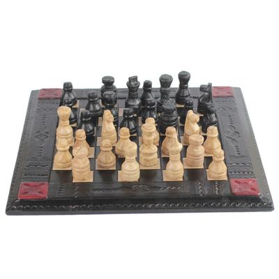 Handmade Leather Chess Set from Ghana