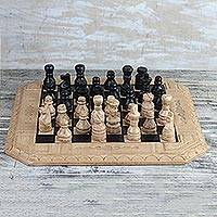 Leather chess set, 'Regal Battle' - Leather Chess Set in Beige and Black from Ghana