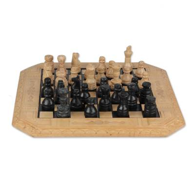 Leather Chess Set in Beige and Black from Ghana