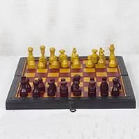Leather travel chess set, 'Royal Battle' - Red and Yellow Leather Travel Chess Set from Ghana