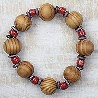 Wood and recycled glass beaded stretch bracelet, 'Wooded Path' - Sese Wood and Recycled Glass Beaded Stretch Bracelet