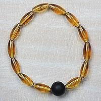 Recycled glass beaded stretch bracelet,