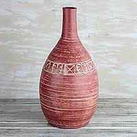 Ceramic vase, 'Adinkra Pot' - Ceramic Vase with Adinkra Symbols from Ghana