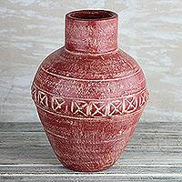 Ceramic vase, 'Cross Jar' - Ceramic Vase from Ghana in Red