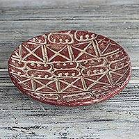 Ceramic decorative plate, 'Red Ese Ne Tekrema' (10 in.) - Adinkra Symbol Ceramic Decorative Plate in Red (10 in.)