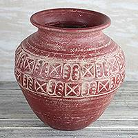 Ceramic vase, 'Adinkra Vessel' (10.75 in.) - Adinkra Motif Ceramic Vase from Ghana (10.75 in.)