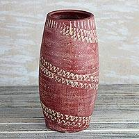 Ceramic vase, 'Dede Curve' - Curved Ceramic Vase in Red from Ghana