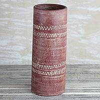 Ceramic vase, 'Straight Dede' (12.75 in.) - Cylindrical Ceramic Vase in Red from Ghana (12.75 in.)
