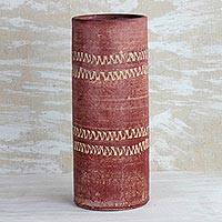 Ceramic vase, 'Straight Dede' (10 inch) - Cylindrical Ceramic Vase in Red from Ghana (10 inch)