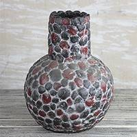 Ceramic vase, 'Pebble Vessel' - Handcrafted Pebble Motif Ceramic Vase from Ghana