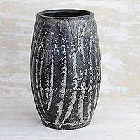 Ceramic vase, 'Water Waves in Black' (11 inch) - Wave Motif Ceramic Vase in Black from Ghana (11 inch)