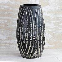 Ceramic vase, 'Water Waves in Black' (8 inch) - Wave Motif Ceramic Vase in Black from Ghana (8 inch)