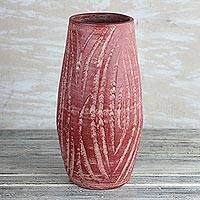 Ceramic vase, 'Water Waves in Red' (12.5 in.) - Wave Motif Ceramic Vase in Red from Ghana (12.5 in.)