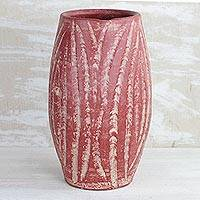 Ceramic vase, 'Water Waves in Red' (9 inch) - Wave Motif Ceramic Vase in Red from Ghana (9 inch)