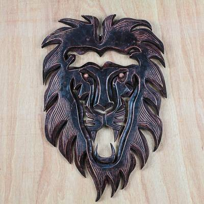 Wood wall sculpture, 'King Lion' - Hand-Carved African Wood Lion Wall Sculpture from Ghana