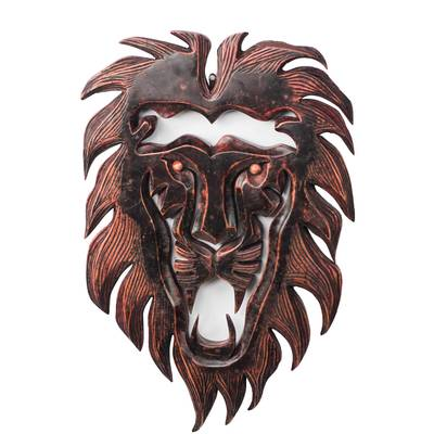 Hand-Carved African Wood Lion Wall Sculpture from Ghana