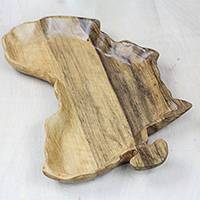 Wood decorative plate, 'Natural Africa' (8.75 in.) - Africa-Shaped Wood Decorative Plate from Ghana (8.75 in.)