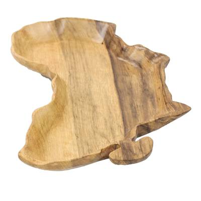 Africa-Shaped Wood Decorative Plate from Ghana (8.75 in.)