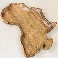Wood decorative plate, 'Natural Africa' (7.75 in.) - Africa-Shaped Wood Decorative Plate from Ghana (7.75 in.)