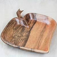 Wood catchall, 'Succulent Pawpaw' - Handcrafted Fruit-Shaped Wood Catchall from Ghana