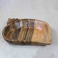 Wood catchall, 'Abstract Snail' - Handcrafted Snail-Shaped Wood Catchall from Ghana