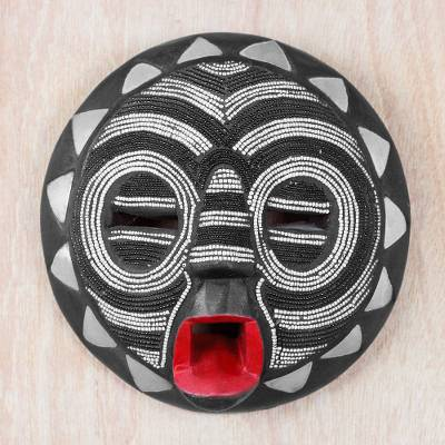 African wood mask, 'Red Lips' - Black and White Glass Beaded African Wood Mask from Ghana