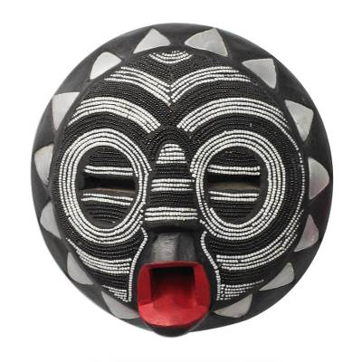 Black and White Glass Beaded African Wood Mask from Ghana