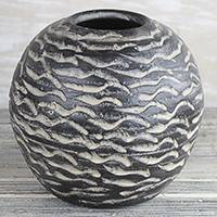 Ceramic vase, 'Water Waves' - Round Ceramic Vase in Black from Ghana
