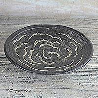 Ceramic decorative plate, 'Rose Waves in Black' (12.5) - Wave Motif Ceramic Decorative Plate in Black (12.5 in.)