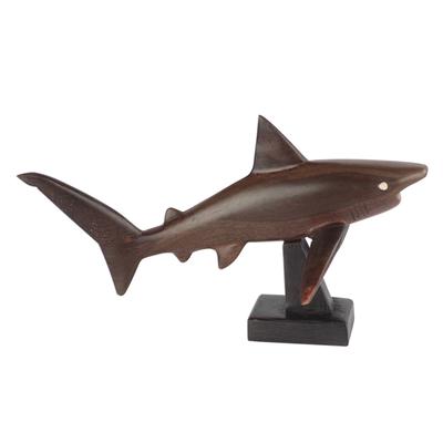 Ebony wood sculpture, 'Great White Shark' - Ebony Wood Great White Shark Sculpture from Ghana