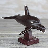 Ebony wood sculpture, 'Bottlenose Dolphin' - Ebony Wood Bottlenose Dolphin Sculpture from Ghana