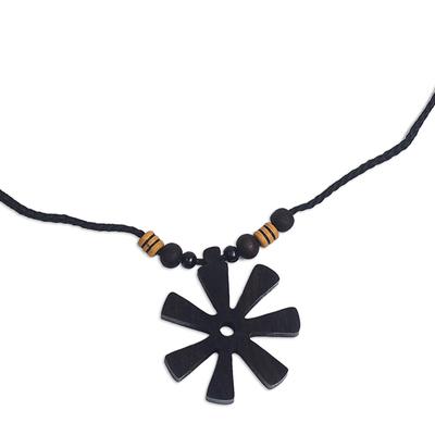 Handmade Ebony Wood Pendant Necklace from Ghana