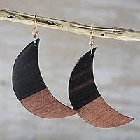 Ebony wood dangle earrings, 'Moon in Shadow' - Handcrafted Ebony Wood Crescent Moon Dangle Earrings