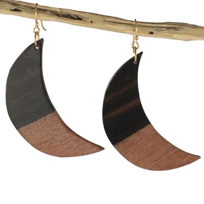 Ebony wood dangle earrings, 'Moon in Shadow' - Handcrafted Ebony Wood Crescent Moon Dangle Earrings