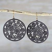 Ebony wood dangle earrings, 'Ebony Bouquet' - Handcrafted Ebony Wood Floral Motif Circle Dangle Earrings