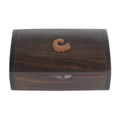 Ebony wood jewelry box, 'Sankofa Keeper' - Ebony Wood Jewelry Box with Adinkra Symbol from Ghana