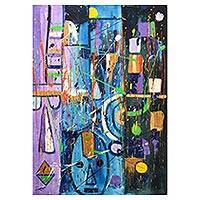 'Peace' - Multicolored Signed Abstract Painting from Ghana