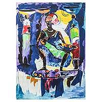 'Motherly Love' - Signed Expressionist Mother and Child Painting from Ghana