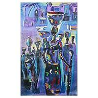 'Home Sweet Home' - Colorful Signed Expressionist Painting from Ghana