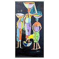 'Darkness' - Signed Expressionist Painting of Women from Ghana