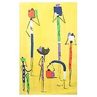 'Bright Day' - Signed Abstract Painting of People from Ghana