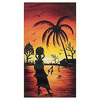 'Sunset' - Signed Painting of a Village at Sunset from Ghana