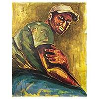 'Gaze on Me' - Signed Painting of a Man with a Baseball Cap from Ghana